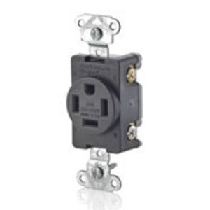 Leviton 8410 Single Receptacle, 20A, 125/250V, 14-20R, Black, Back/Side Wired