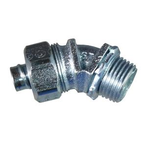 "Appleton ST-4550 Liquidtight Connector, 45°, 1/2"", Non-Insulated, Malleable Iron"