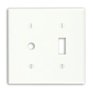 Leviton 86077 Combo Wallplate, 2-Gang, Duplex/Phone, Thermoset, Ivory, Standard