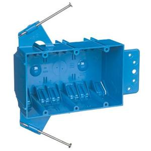 "Carlon B344AB Switch/Outlet Box with Bracket, 3-Gang, Depth: 2-11/16"", Nail-On, Non-Metallic"