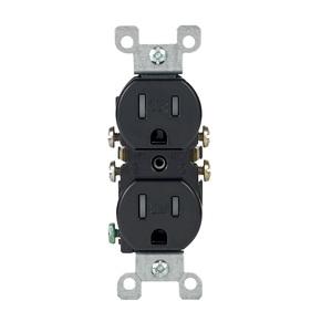 Leviton T5320-E Tamper Resistant Duplex Receptacle, 15A, 125V, Black