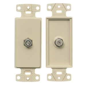Hubbell-Premise NS780I Wallplate Insert, Decora, F-Connector, Ivory