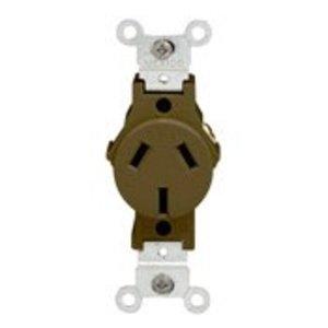 Leviton 5032 Single Receptacle, 20A, 125/250V, 10-20R, Black, Flush Mount