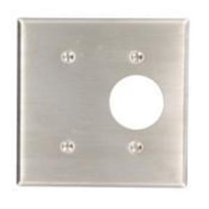 "Leviton 84085-40 Comb. Wallplate, 2-Gang, Single Rcpt. - 1.406"" Hole, Stainless Steel"