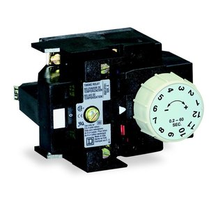 Square D 8501XTD1 Control Relay, Pneumatic Timing Attachment, 0.2-60 Seconds, Off Delay