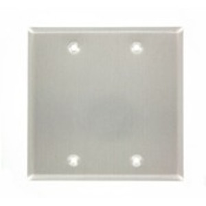Leviton 83025-EXT Blank Wallplate, 2-Gang, Aluminum, Standard, with Gasket, Box Mnt