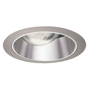 "Juno Lighting 26-PTSC Cone Trim, Straight, 6"", Pewter Alzak Reflector/Satin Chrome Trim"