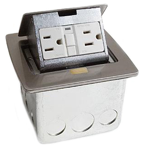 Lew PUFP-CT-SS Counter Box Assembly, 1-Gang, (1) 20A GFI Receptacle, Stainless Steel