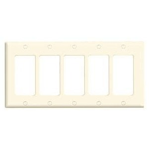 Leviton 80423-T Decora Wallplate, 5-Gang, Thermoset, Lt. Almond