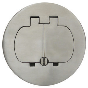 """Carlon E97SS2 Round Cover, Diameter: 5"""", Type: Two Door Duplex, Stainless Steel"""