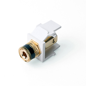Leviton 40833-BWE White Binding Post Adapter, Gold-Plated, Black Stripe
