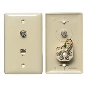 Hubbell-Premise NS747I Wall Plate & Connector, F Coaxial and Telephone Jack, 1-Gang, Ivory