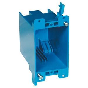 "Carlon B120R Switch/Outlet Box, 1-Gang, Depth: 3-5/8"", Ear Brackets, Non-Metallic"