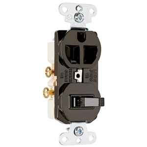 Pass & Seymour 691 Switch / Duplex Combination, 15A, Brown