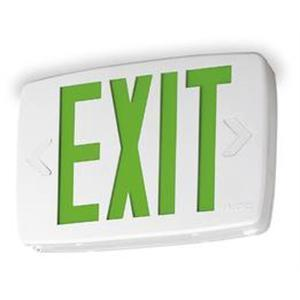 Lithonia Lighting LQMSW3G120/277ELNM6 Emergency Exit Sign, Green, LED