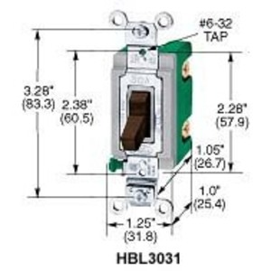 Hubbell-Kellems HBL3032I Double Pole Switch, 30A, 120/277VAC, Ivory