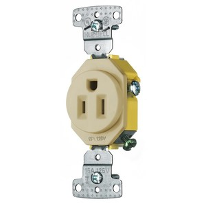 Hubbell-Wiring Kellems RR151I Single Receptacle, Residential, 15A, 125V, Ivory