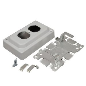 Wiremold 1546B Duplex Receptacle Box, 1500/2600 Series Raceway, Gray