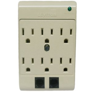 Leviton 3500-PT 15A, 120V, 6 Outlet Surge Adapter