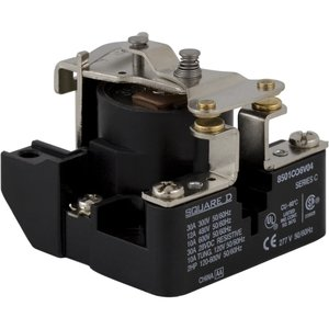 Square D 8501CO6V20 Power Relay, 120VAC Coil, 30A, 1PH, 1PST, Open Type C, 600VAC Rated