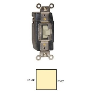 Leviton 1081-I Momentary Contact Toggle Switch, 3A, 24V AC/DC, Ivory