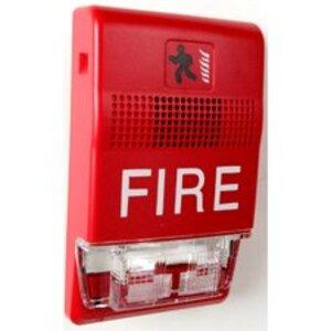 Edwards EG1RF-HDVM Horn/Strobe, Wall Mount, 24V DC, Red, Marked: FIRE, Non-Metallic