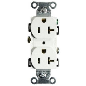 Hubbell-Kellems BR20WHI Duplex Receptacle, 20A, 125V, White, Commercial/Industrial