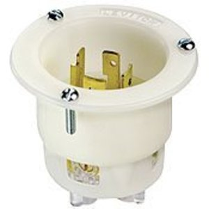 Leviton 2435 Locking Flanged Inlet, 20A, 480V 3 Phase, L16-20, White