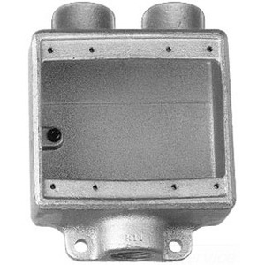 """Cooper Crouse-Hinds FSD212 FS Device Box, 2-Gang, Feed-Thru, Type FSD, 3/4"""", Malleable Iron"""