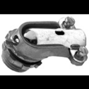 "Bridgeport Fittings 804-DC2 Liquidtight Connector, 90 Degree, 1/2"", Non-Insulated, Aluminum"