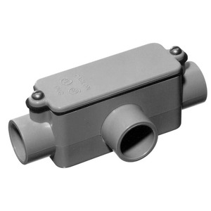 """Carlon E983D-CAR PVC Conduit Body, Type: T, 1/2"""", With Cover and Gasket"""