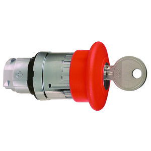 Square D ZB4BS944 Push Button, Latching Key Release, Red, 40mm, Mushroom Head, 22.5mm