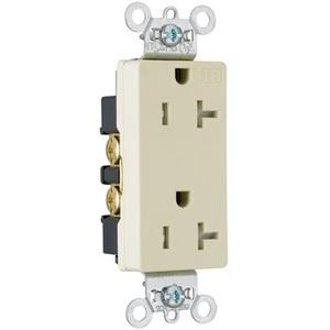 Pass & Seymour TR26362-I Tamper Resistant Decora Duplex Receptacle, 20A, 125V, Ivory