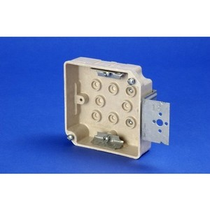 """Allied Moulded 9339-Z+1 Switch/Outlet Box with Bracket, Depth: 1-1/4"""", 2-Gang, Non-Metallic"""