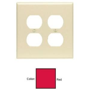Leviton PJ82-R Duplex Receptacle Wallplate, 2-Gang, Nylon, Red, Midway
