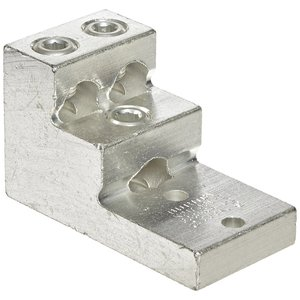 Burndy K21A36U2 Stacked Lug, Aluminum, 3-Conductor, 2-Hole Mount, 2 AWG to 600 MCM