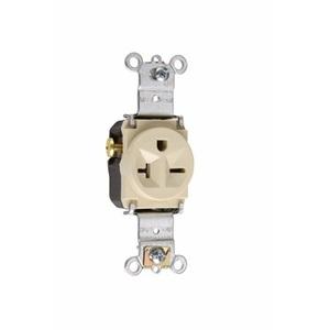 Pass & Seymour 5871-I Single Receptacle, 20 Amp, 250 Volt, Ivory