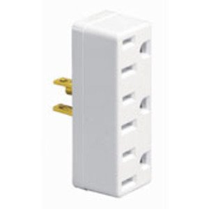 Leviton 697-W Plug-In 3-Outlet Adapter, 15A, White