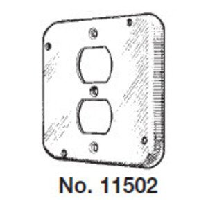 "Mulberry Metal 11502 4-11/16"" Square Exposed Work Cover, (1) Duplex Receptacle"