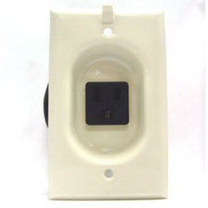 Mulberry Metal 40581 Clock Hanger Receptacle, 15A, Steel, Ivory