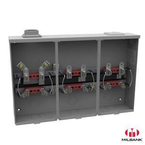 "Milbank U7363-DL Meter Base, 3 Position, 100A, 4 Jaw, 2"" Hub, Ringless, 300VAC, 1PH"