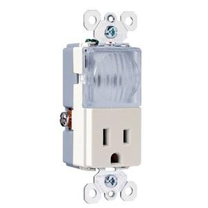 Pass & Seymour TM8-HWLLACC Decora Hallway Light/Single Receptacle, 15A, 125V, Light Almond