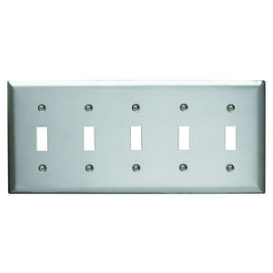 Pass & Seymour SS5 Wallplate, Toggle Switch, 5-Gang, Stainless Steel