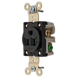 Hubbell-Wiring Kellems HBL5361BK Single Receptacle, 20A, 125V, Black, Heavy Duty Spec Grade