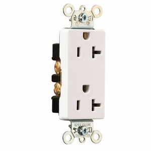 Pass & Seymour 26352-W Decora Duplex Receptacle, 20A, 125V, White, 5-20R