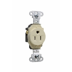 Pass & Seymour TR5251-I Tamper Resistant Single Receptacle, 15A, 125V, Ivory