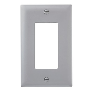 Pass & Seymour TP26-GRY Decora Wallplate, 1-Gang, Nylon, Gray