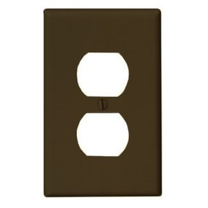 Leviton PJ8 Duplex Receptacle Wallplate, 1-Gang, Nylon, Brown, Midway