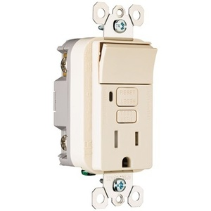 Pass & Seymour 1595-SWTTRLACC4 Switch/GFCI Receptacle Combo, 15A, 125V, Light Almond