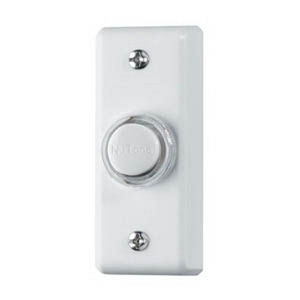 "Broan PB69LWH Door Chime Push-Button, Lighted, 1"" x 2-3/4"", Surface Mount, White"
